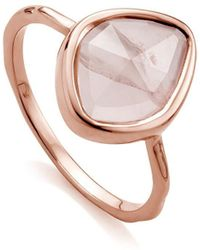 Monica Vinader Siren Small Nugget Stacking Rose Quartz Ring - Pink