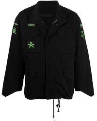 Sankuanz Cotton Patch-detail Jacket - Black