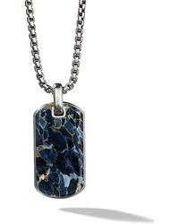 David Yurman Collar con placa de 35mm de piedra pietersita - Azul