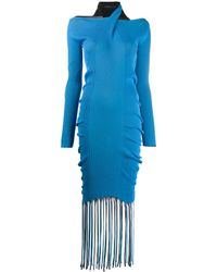 Bottega Veneta フリンジ ニットドレス - ブルー