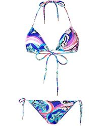 Emilio Pucci Conjunto de bikini con estampado abstracto - Azul