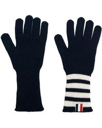 Thom Browne Striped Rib Cuff Gloves - Blauw