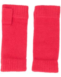 N.Peal Cashmere Fingerless Cashmere Gloves - Red