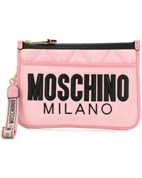 Moschino - Quilted Logo Clutch - Lyst