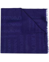 Emporio Armani Schal mit Logos - Blau