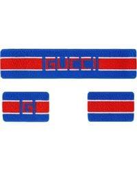 Gucci ストライプ ヘッドバンド&バングル - ブルー