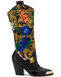 Versace Jeans バロックパネル ブーツ - ブラック