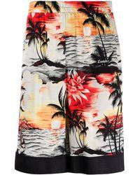 Laneus Pantalones cortos de deporte con estampado hawaiano - Naranja