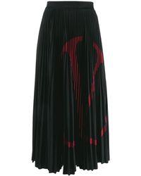 Valentino Vロゴ プリーツスカート - ブラック
