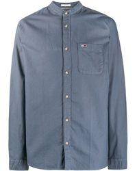 Tommy Hilfiger Overhemd Met Bandkraag - Blauw