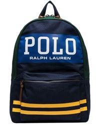 Polo Ralph Lauren Printed Logo Striped Backpack - Blue