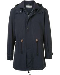 Gieves & Hawkes Hooded Mid-length Parka - Blue