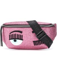 Chiara Ferragni Winking Eye Glittered Belt Bag - Pink