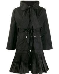 RED Valentino プリーツヘム フーデッドコート - ブラック