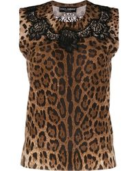 Dolce & Gabbana Top lacé à imprimé léopard - Marron