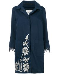 Bazar Deluxe Lace Trim Floral Embroidered Coat - Blue