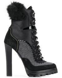 DSquared² Panelled Lace-up Ankle Boots - Black