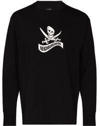Neighborhood Long-sleeve Logo Print T-shirt - Black