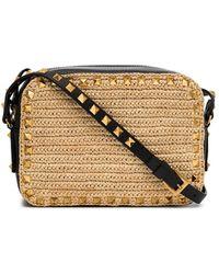 Valentino Garavani Rockstud Straw Crossbody Bag - Многоцветный