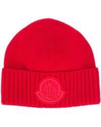 Moncler Шапка Бини В Рубчик С Логотипом - Красный