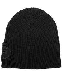 b25a2ff1806 Prada - Black Logo Embroidered Ribbed Virgin Wool Hat - Lyst