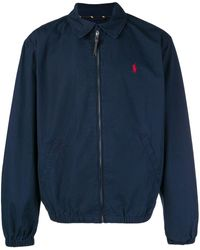 Polo Ralph Lauren Logo Zipped Bomber Jacket - Синий