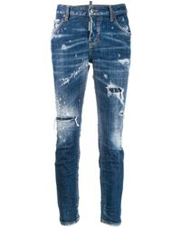 DSquared² Distressed Slim-fit Jeans - Blue