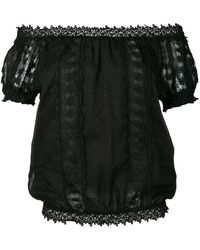 Charo Ruiz Embroidered Floral Blouse - Black