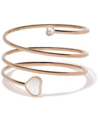 Chopard 18kt Rose Gold Happy Hearts Diamond And Mother-of-pearl Twist Bangle - Metallic