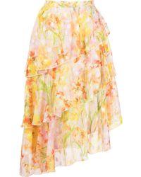Marchesa notte Daffodil Print Ruffle Skirt - Yellow