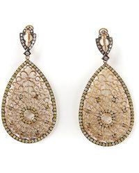 Loree Rodkin Filigree Diamond Tear Drop Earrings - Metallic