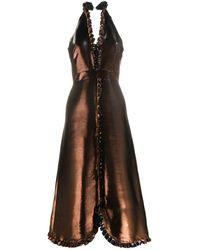 Temperley London メタリック ラッフル ドレス - ブラウン