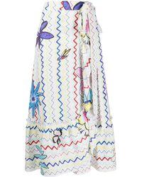 Mira Mikati Linen Wrap-style Long Skirt - White