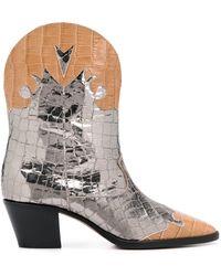Paris Texas Crocodile Embossed Western Boots - Metallic
