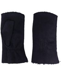 Holland & Holland Leather Mittens - Blue