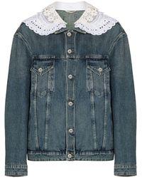 Miu Miu Lace-trim Denim Jacket - Blue