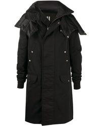 Rick Owens Длинное Пальто С Косым Воротником - Черный