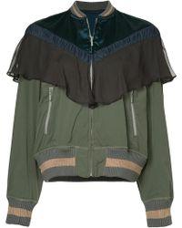 Kolor Contrast Panel Bomber Jacket - Green