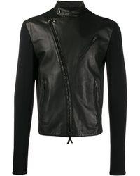Giorgio Armani 1990's Contrast Panels Biker Jacket - Black