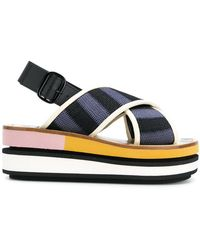 Marni - Sling Back Wedge Sandals - Lyst