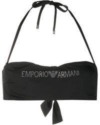 Emporio Armani ホルターネック ビキニトップ - ブラック