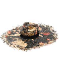 Etro Плетеная Шляпа С Цветочным Принтом - Черный