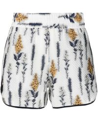 Baum und Pferdgarten Shorts mit Blumen-Print - Weiß