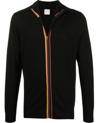 Paul Smith Zip-through Merino Wool Artist Stripe Cardigan - Black