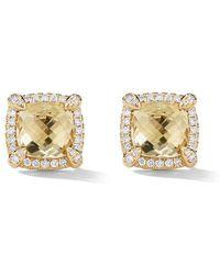 David Yurman - 18kt Yellow Gold Châtelaine Citrine And Diamond Stud Earrings - Lyst
