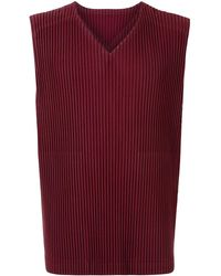 Homme Plissé Issey Miyake Pleated V-neck Tank Top - Red