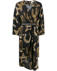Versace Baroque Print Wrap Dress - Black