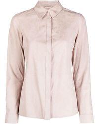 DESA NINETEENSEVENTYTWO Button-up Suede Shirt - Pink