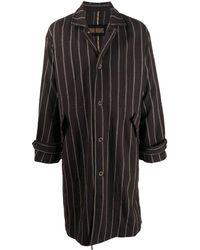 Uma Wang Manteau droit à rayures - Marron