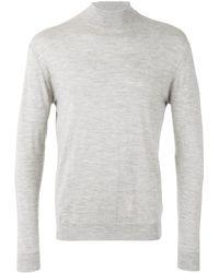 N.Peal Cashmere Fine Gauge Mock Turtle Neck Sweater - Gray